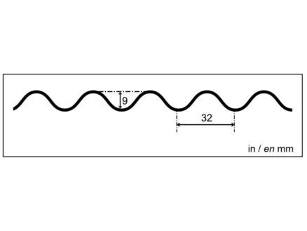 Scala plaque ondulée type 32/9 213x104 cm 0,8mm PVC cristal