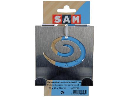 Sam portemanteau de porte décoratif 2 crochets inox