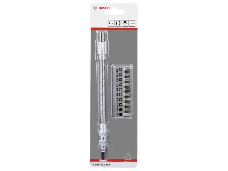 Bosch Professional rallonge d'embout flexible 200mm + set d'embouts HX/PH/PZ/SL/TX 11 pièces