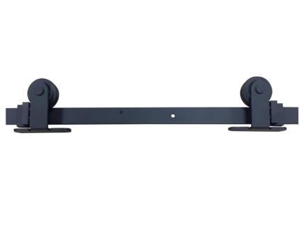 Solid rollers + geleider hout/stalen deur metaal zwart