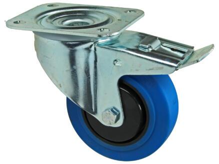 Tente roulette à frein pivotante 100mm platine caoutchouc bleu