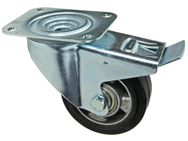 Tente roulette à frein pivotante 125mm platine polyuréthane