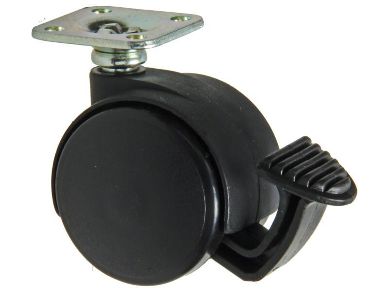 Tente roulette à frein pivotante 40mm platine