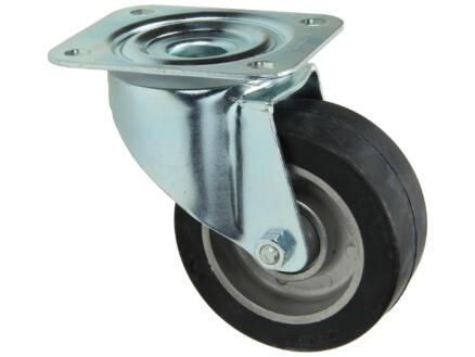 Tente roulette pivotante 100mm platine caoutchouc