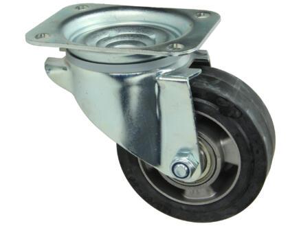 Tente roulette pivotante 125mm platine caoutchouc