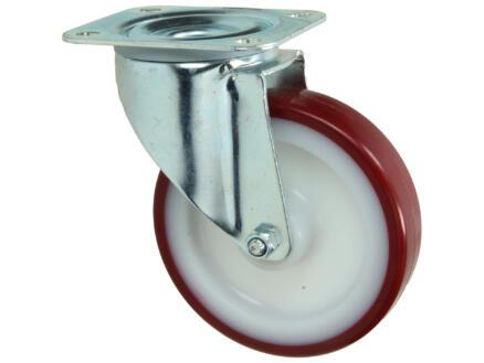 Tente roulette pivotante 125mm platine polyuréthane rouge