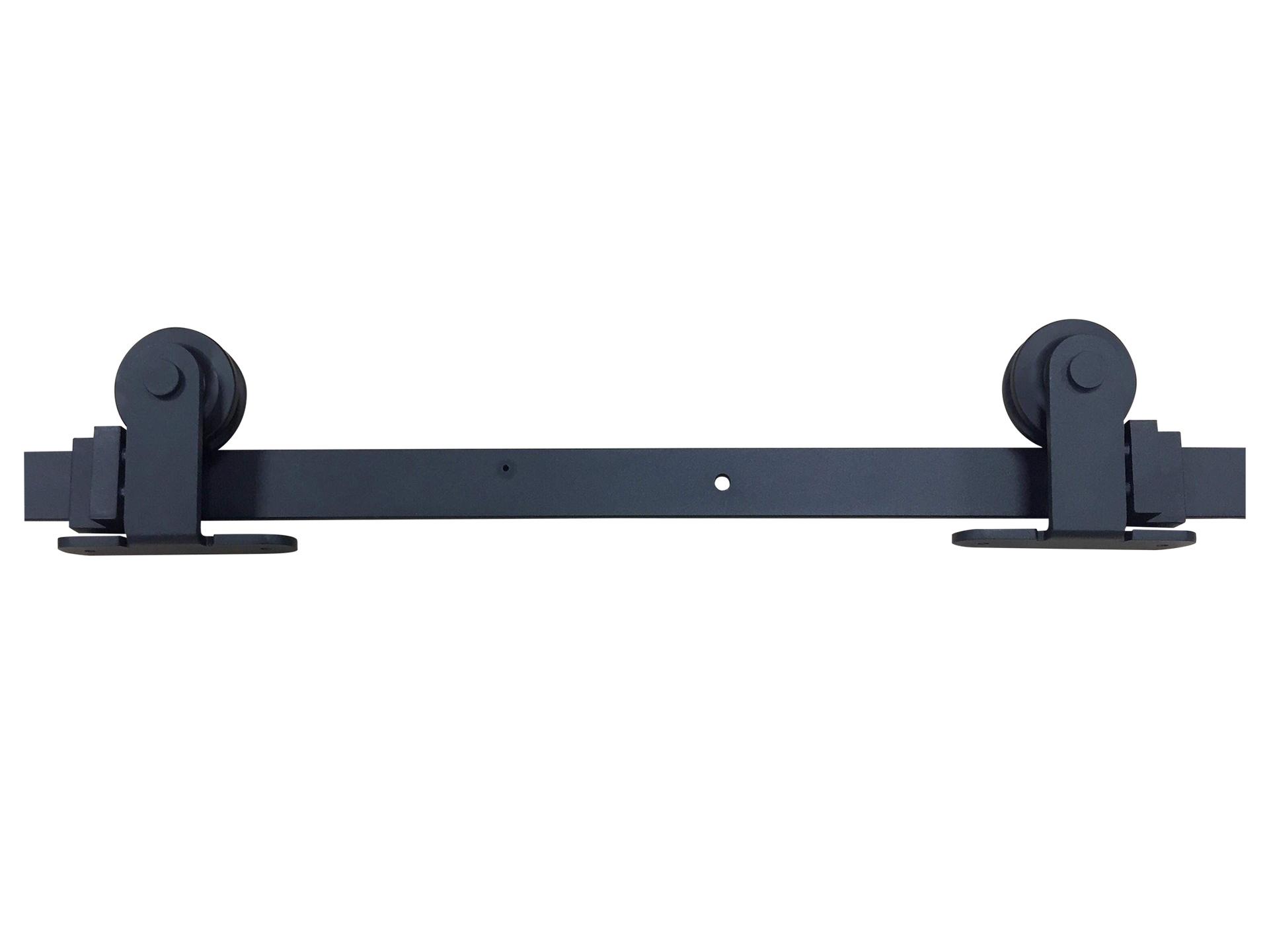Barre Pour Porte Coulissante solid roulettes + guide porte coulissante en bois/acier métal noir