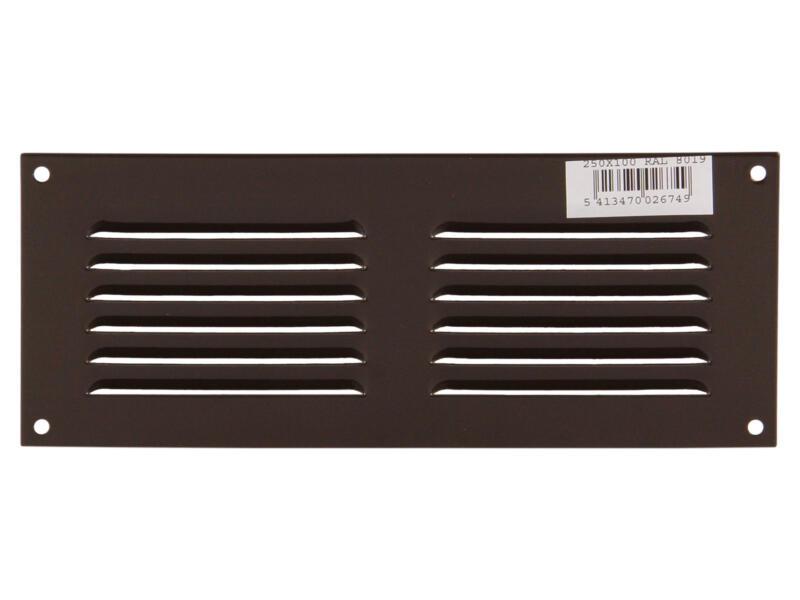 Renson schoepenrooster met kader 250x100 mm aluminium bruin