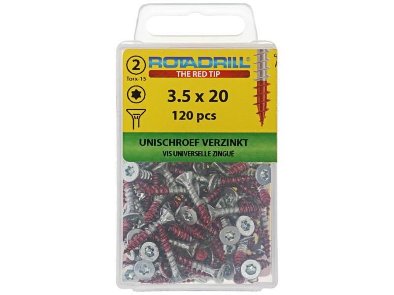 Rotadrill schroeven universeel TX15 20x3,5 mm verzinkt 120 stuks