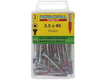Rotadrill schroeven universeel TX15 40x3,5 mm verzinkt 70 stuks