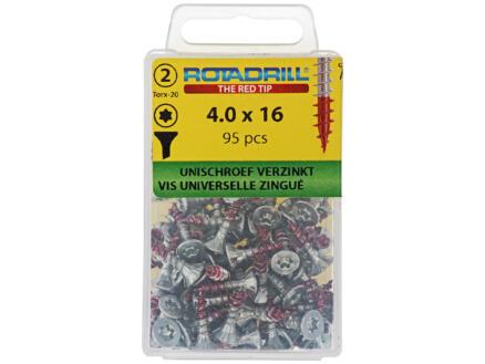 Rotadrill schroeven universeel TX20 16x4 mm verzinkt 95 stuks