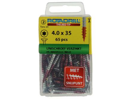 Rotadrill schroeven universeel TX20 35x4 mm verzinkt 65 stuks