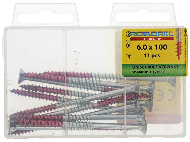 Rotadrill schroeven universeel TX25 100x6 mm verzinkt 11 stuks
