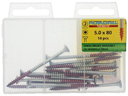 Rotadrill schroeven universeel TX25 80x5 mm verzinkt 16 stuks