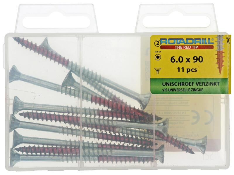 Rotadrill schroeven universeel TX25 90x6 mm verzinkt 11 stuks