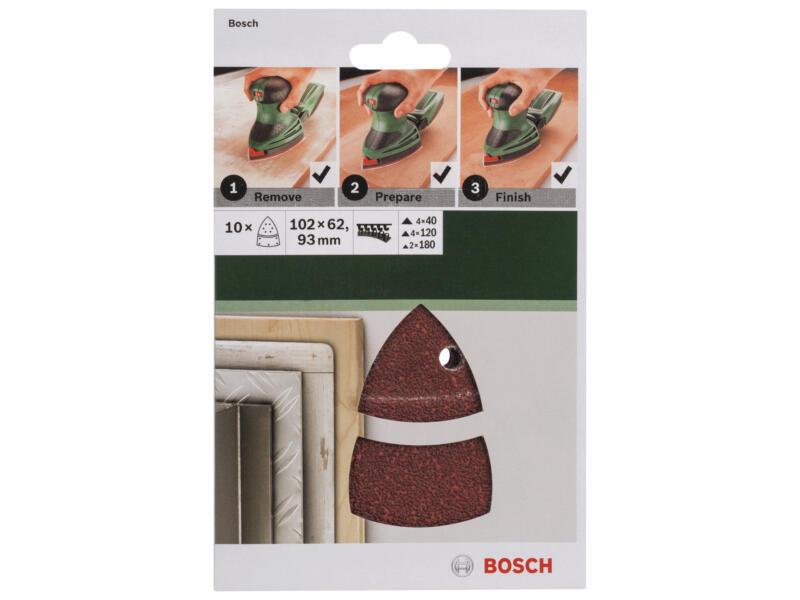 Bosch schuurpapier K40/K120/K180 102x93 mm 10 stuks