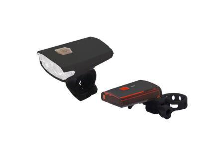 Maxxus set d'éclairage vélo avec USB et pile muon 3 fonctions
