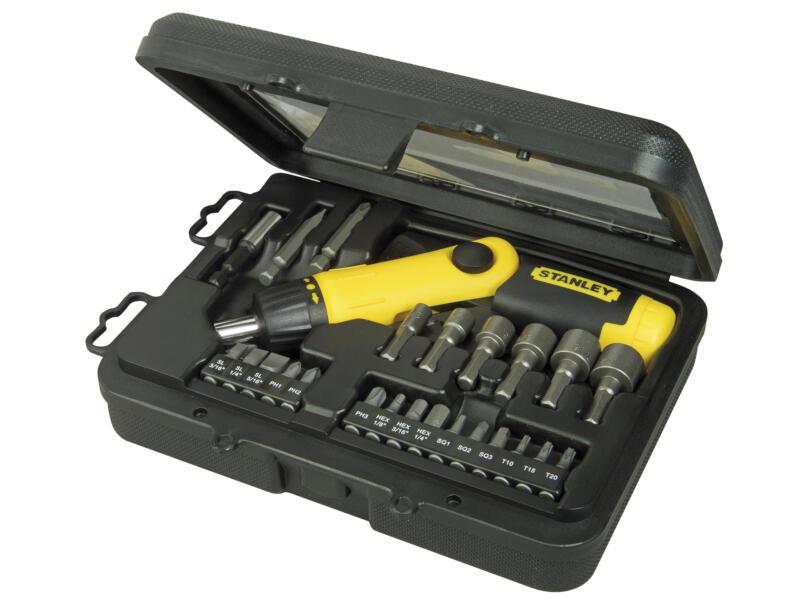 Stanley set d'embouts à cliquet HX/PH/R/SL/TX avec poignée pistolet 22 pièces
