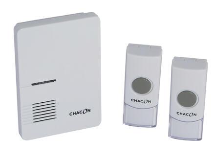 Chacon sonnette de porte sans fil + 2 boutons poussoir blanc