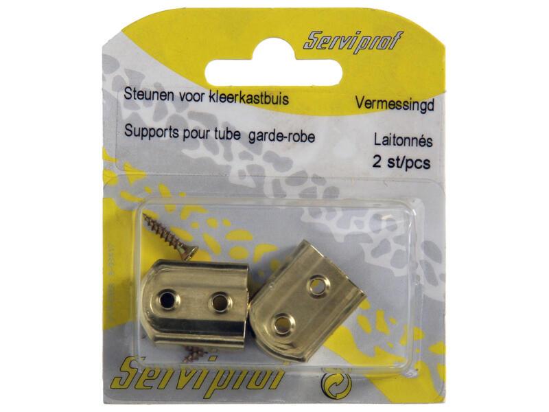 support tringle de garde-robe 3x1,5 cm laitonné 2 pièces