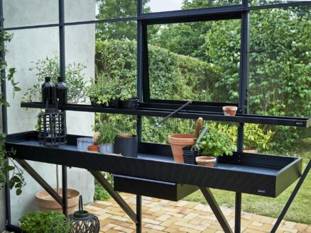 Juliana table de culture serre avec tiroir 213x52x10 cm noir
