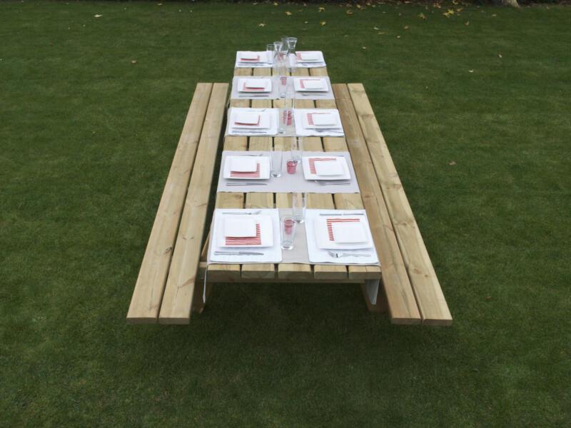 Gardenas table de pique-nique XXL 300x156 cm brun