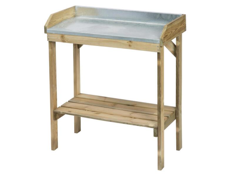 ubbink table de rempotage avec plan de travail en zinc