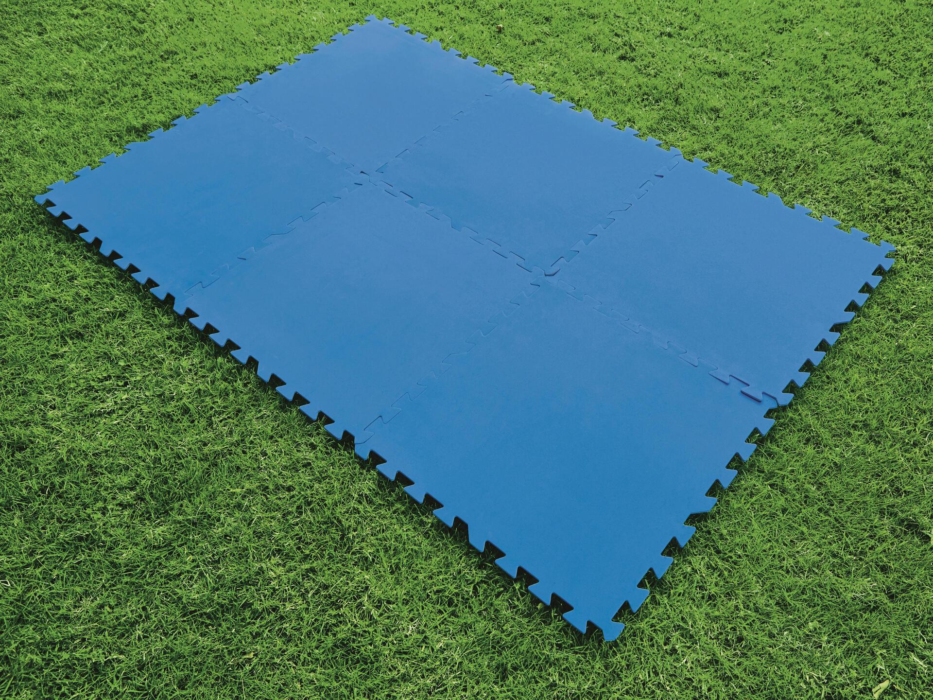 Dalle De Protection Piscine tapis de sol piscine en dalles 50x50 cm bleu 8 dalles