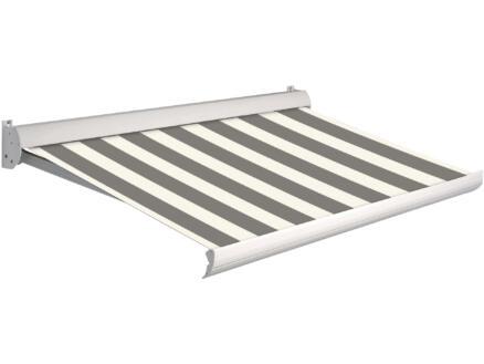 Domasol tente solaire électrique F10 350x250 cm fines rayures noir-blanc et armature blanc crème