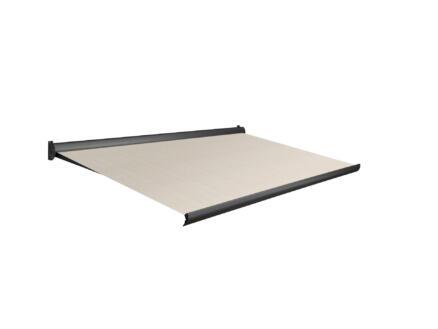 Domasol tente solaire électrique F10 350x300 cm rayures brun-blanc et armature gris anthracite