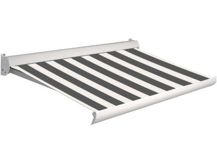 Domasol tente solaire électrique F10 450x250 cm fines rayures brun-blanc et armature blanc crème
