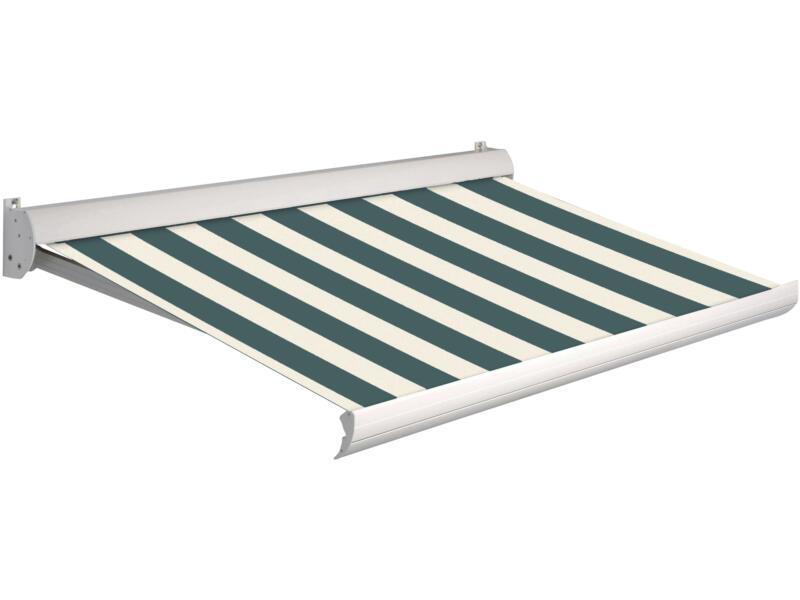 Domasol tente solaire électrique F10 450x250 cm fines rayures vert-blanc et armature blanc crème