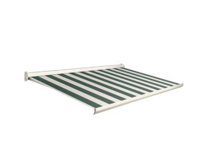 Domasol tente solaire électrique F10 500x300 cm fines rayures vert-blanc et armature blanc crème