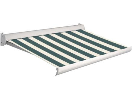 Domasol tente solaire électrique F10 550x250 cm fines rayures vert-blanc et armature blanc crème