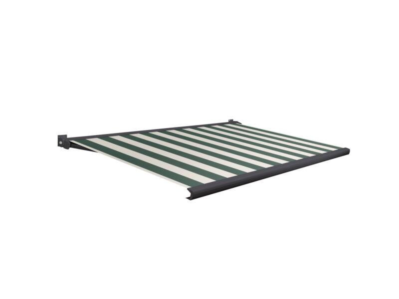 Domasol tente solaire électrique F20 300x250 cm + télécommande fines rayures vert-blanc et armature gris anthracite