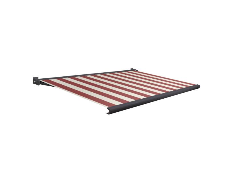 Domasol tente solaire électrique F20 350x250 cm + télécommande fines rayures rouge-blanc et armature gris anthracite