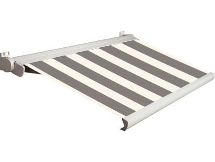 Domasol tente solaire électrique F20 350x300 cm + télécommande fines rayures noir-blanc et armature blanc crème