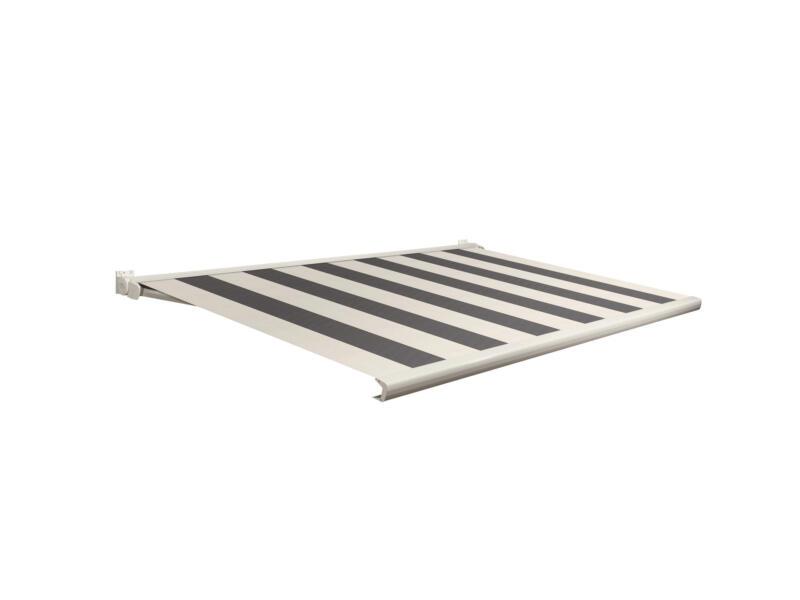 Domasol tente solaire électrique F20 350x300 cm + télécommande rayures gris-crème et armature blanc crème