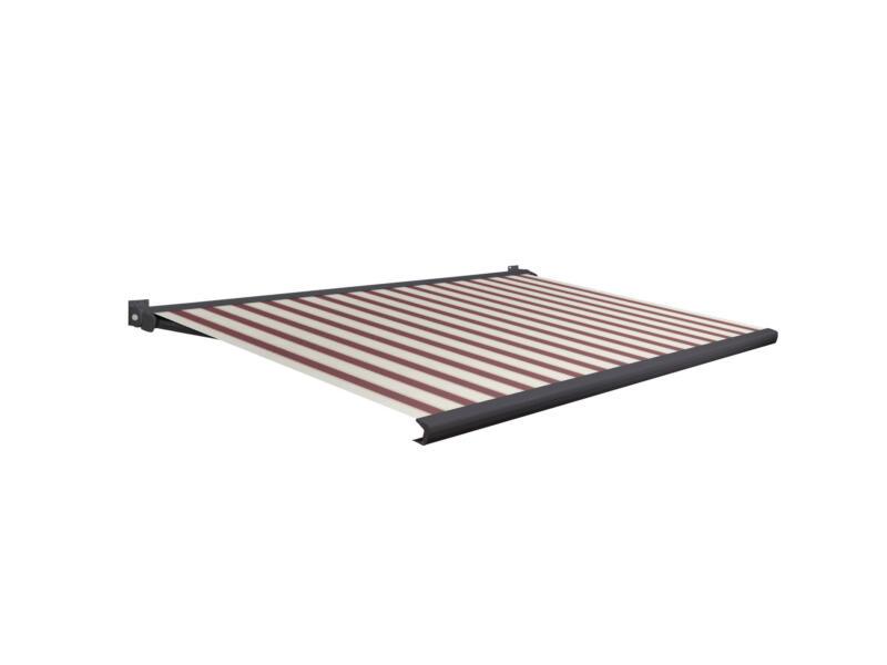 Domasol tente solaire électrique F20 350x300 cm + télécommande rayures rouge-blanc et armature gris anthracite