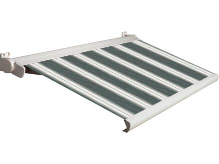Domasol tente solaire électrique F20 350x300 cm + télécommande rayures vert-blanc et armature blanc crème