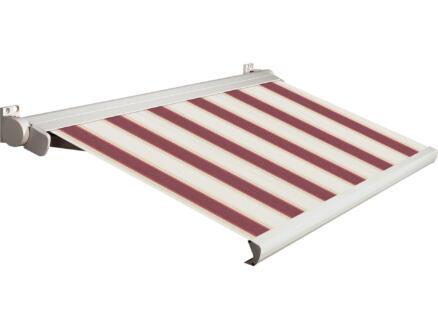Domasol tente solaire électrique F20 350x300 cm rayures rouge-blanc et armature blanc crème