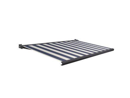 Domasol tente solaire électrique F20 400x250 cm + télécommande fines rayures bleu-blanc et armature gris anthracite