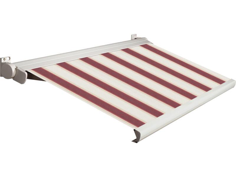 Domasol tente solaire électrique F20 400x300 cm + télécommande rayures rouge-blanc et armature blanc crème