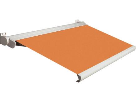 Domasol tente solaire électrique F20 450x250 cm + télécommande orange et armature blanc crème
