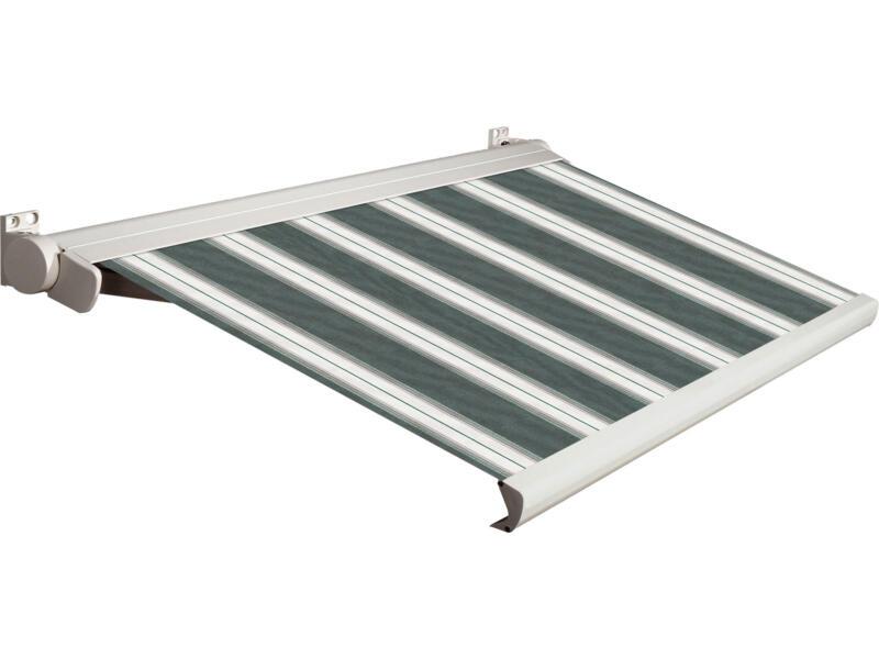 Domasol tente solaire électrique F20 450x300 cm + télécommande rayures vert-blanc et armature blanc crème