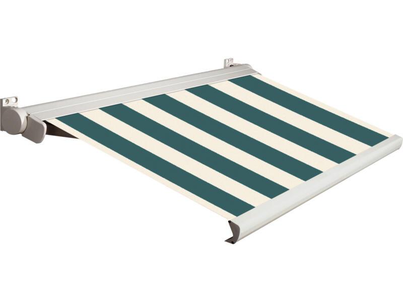 Domasol tente solaire électrique F20 450x300 cm fines rayures vert-blanc et armature blanc crème
