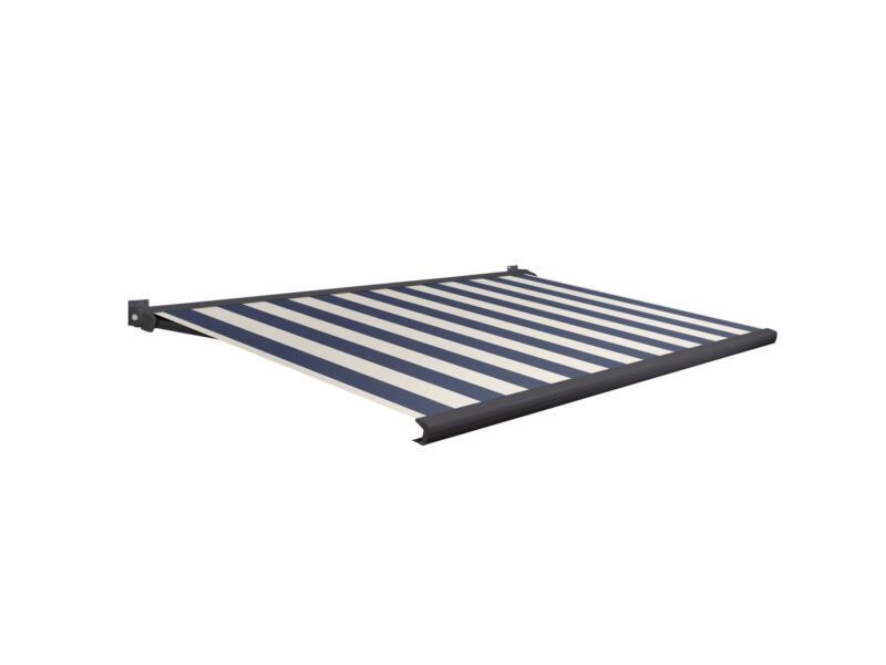 Domasol tente solaire électrique F20 500x250 cm + télécommande fines rayures bleu-blanc et armature gris anthracite