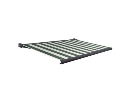 Domasol tente solaire électrique F20 500x250 cm + télécommande fines rayures vert-blanc et armature gris anthracite