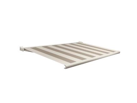 Domasol tente solaire électrique F20 500x250 cm + télécommande rayures beige-crème et armature blanc crème