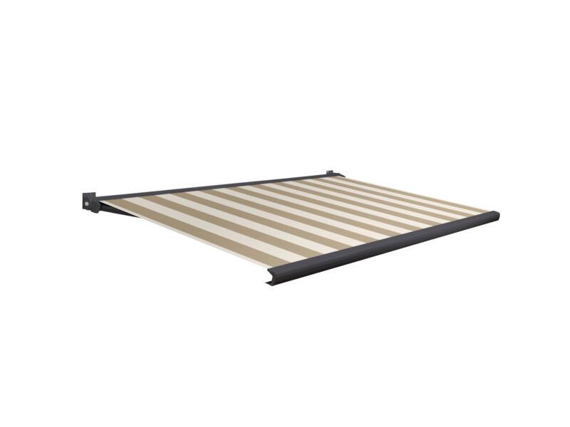 Domasol tente solaire électrique F20 500x300 cm + télécommande fines rayures brun-blanc et armature gris anthracite